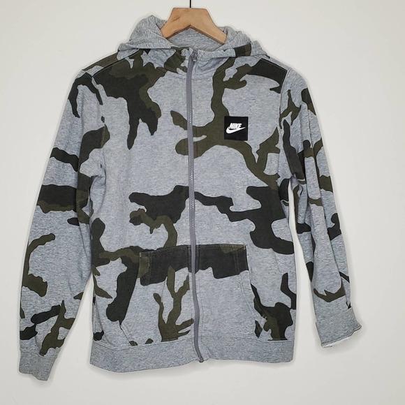 NIKE Boys Camo Print Full Zip Hooded Sweatshirt, L